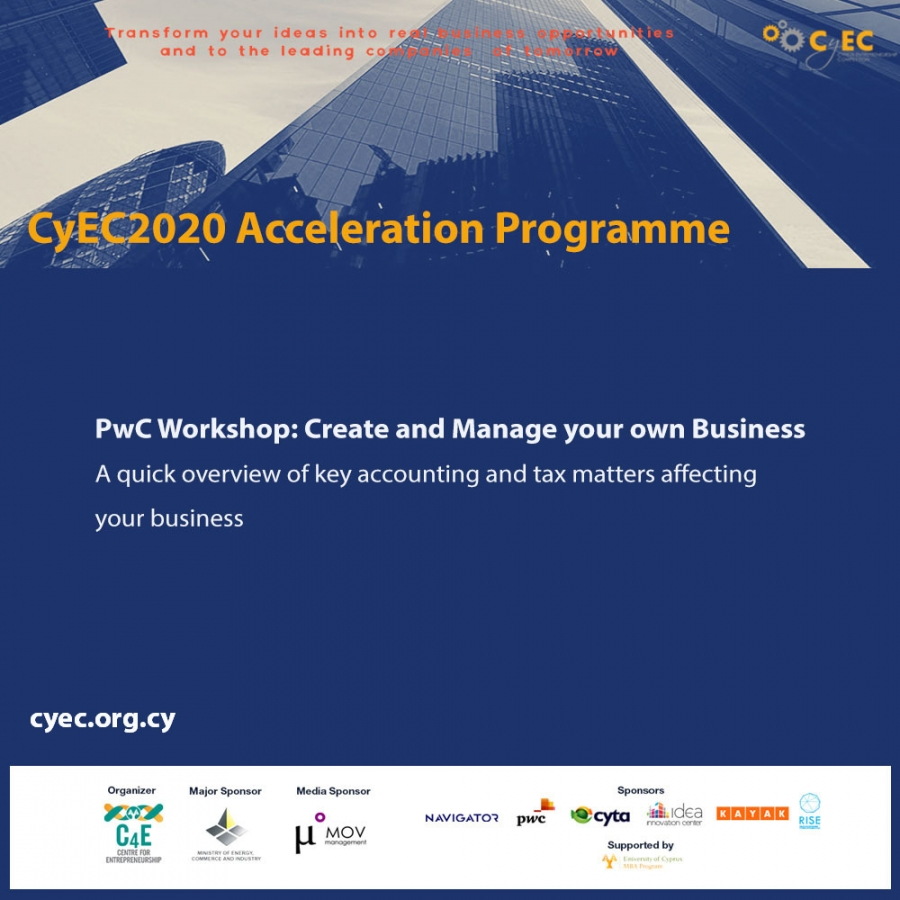 [21 Oct] PwC Workshop - Create and Manage your own Business:  A quick overview of key accounting and tax matters affecting your business