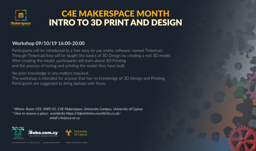 [9 Oct] C4E Makerspace Month: INTRO TO 3D PRINT AND DESIGN