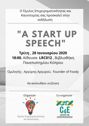 A start up Speech: Argyris Argyrou (Founder of foody.com.cy)